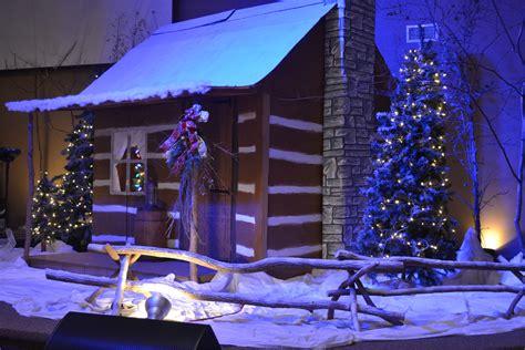 christmas village devotion church stage design ideas