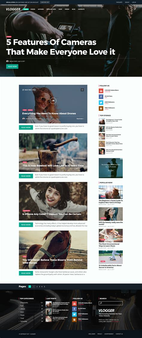 vlogger video website template  wordpressthemesgo