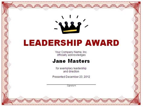 Leadership Award Template 11 11 Leadership Certificate Template Free