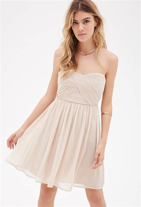 Dress Wanita By Forever21 forever 21 strapless pleated chiffon dress in metallic lyst