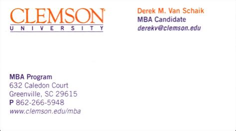 Foster Mba Student Organizations by Mba Candidate Business Card Mba Real Estate Derek M
