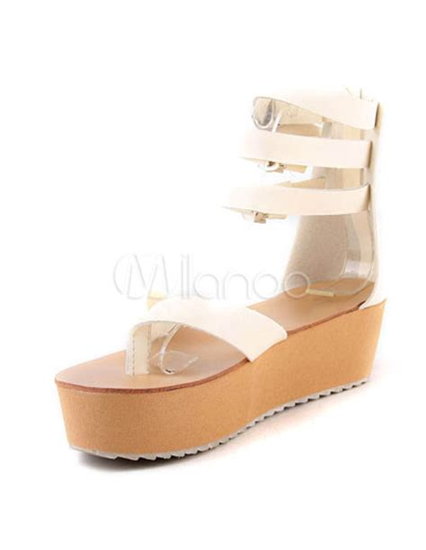 Sandal Selop Vogue Creme colored 2 high heel 2 platform wedge ankle straps pu womens fashion sandals milanoo