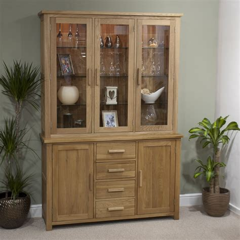 Cabinet With Dresser by Eton Solid Oak Furniture Large Glazed Dresser Display