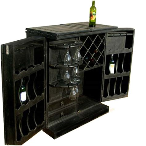 Liquor Storage Cabinet Black Wooden Wine Bar Liquor Storage Cabinet W Glass Bottle Holder