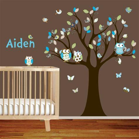vinyl wall decal stickers owl tree set nursery boy baby