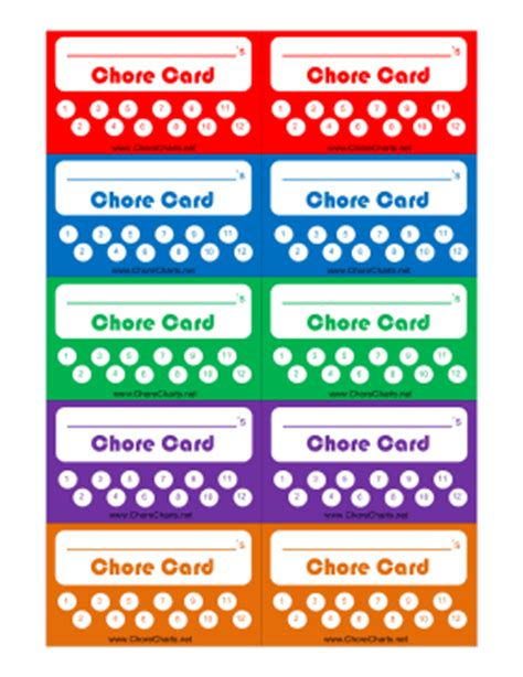 Chore Card Template by Punch Card Template Cyberuse