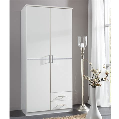 White Wooden Wardrobes Uk by Florence White Wooden Wardrobe With Diamante 2 Door 2