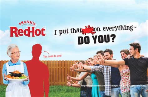 Franks Red Hot Sweepstakes - the frank s redhot iptsoe 25 000 video contest