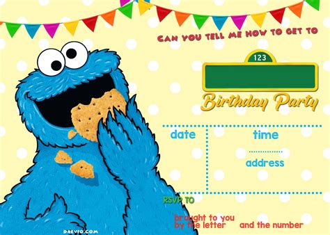 cookie invitation template sesame birthday invitations free