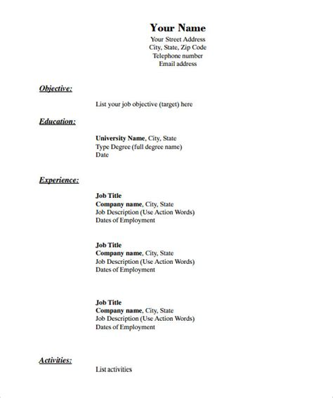 blank resume templates for microsoft word blank resume template cyberuse