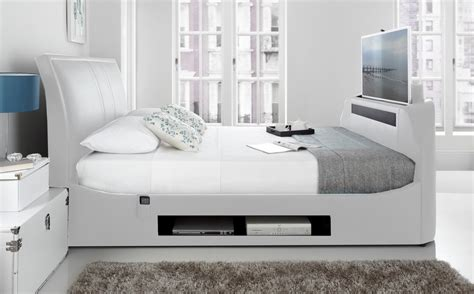 Bed Frame With Built In Tv Stand Maximus White Leather Multi Media King Size Tv Bed Frame Ebay