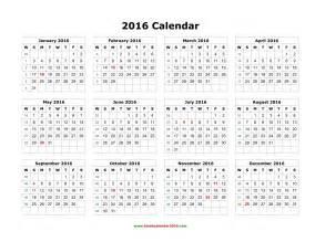 Blank yearly calendar 2016