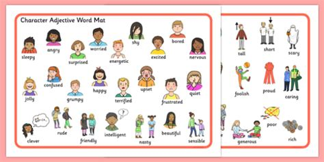 Adjectives Mat by Character Adjective Word Mat Character Adjective Word Mat