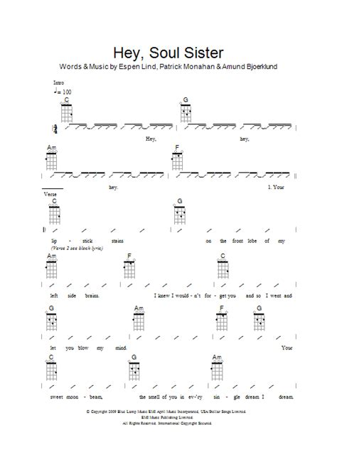 ukulele tutorial for hey soul sister hey soul sister sheet music direct
