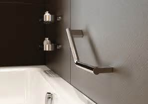 modern slim bathroom angled shower grab bar