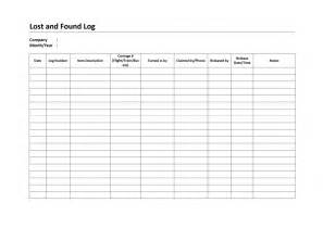 lost template free lost and found log