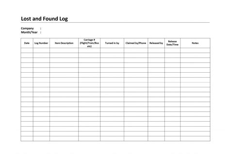 lost template lost and found log