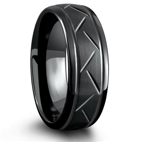 8mm Black Carved Tungsten Ring   Northern Royal ? Northern