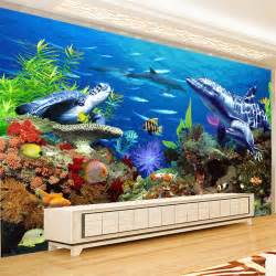 Custom Wall Murals Cheap custom mural wallpaper 3d embossed non woven lifelike shark dolphin