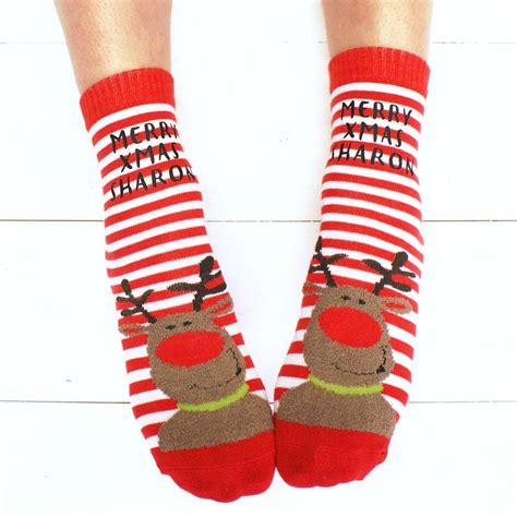 christmas sock personalised santa christmas slipper socks by sparks