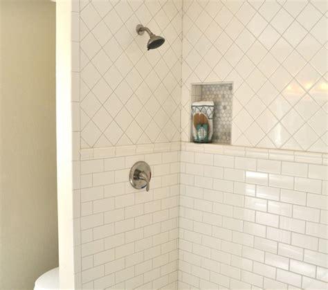 White Shower white stone subway tile in shower design ideas