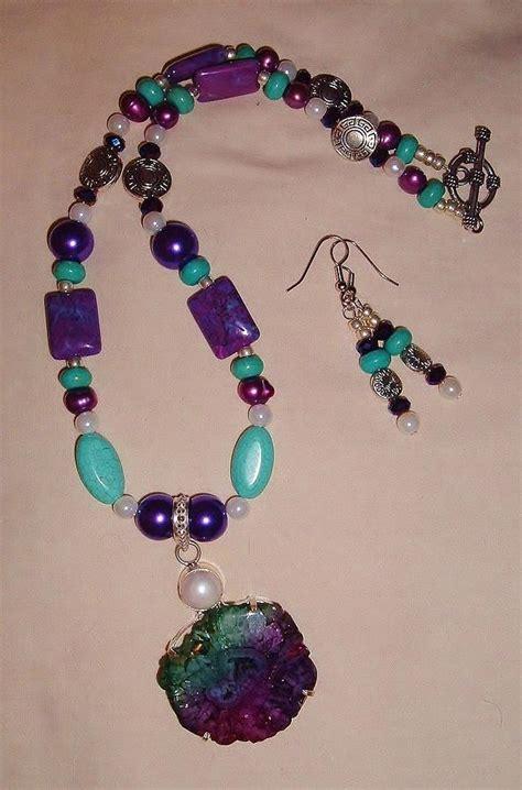 purple turquoise and solar quartz 2pc set jewelry by