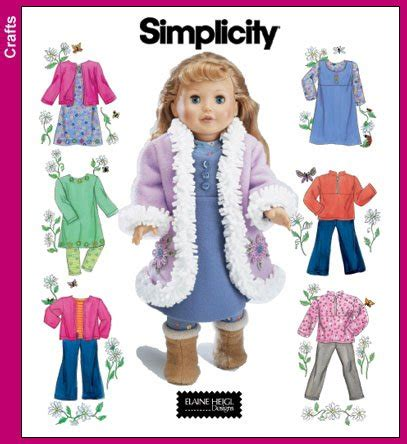 Patterns Templates Simplicity 4786 Sew Pattern 18 Quot Doll Clothes American Girl Battat American Doll Clothes Templates