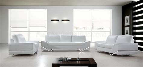 white couch set vanity sofa 3pc set in white leather 0744 by vig