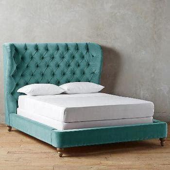 teal antique print roll back tufted bed