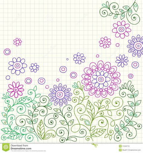 doodle flowers meaning doodle henna flowers and vines vector stock vector image