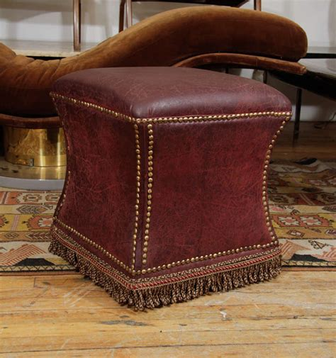 distressed leather ottoman vintage distressed leather ottoman with nailhead detailing