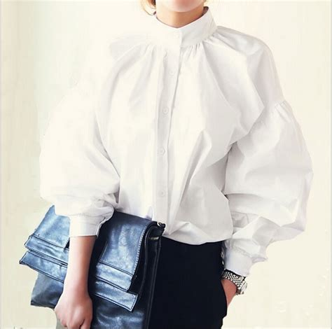 Jual Blouse Big Size Womens High Collar Blouses White Sleeve Blouse Cotton