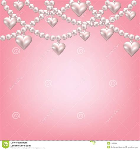 Bow Curtains Heart Pearl Necklace Stock Image Image 29075381