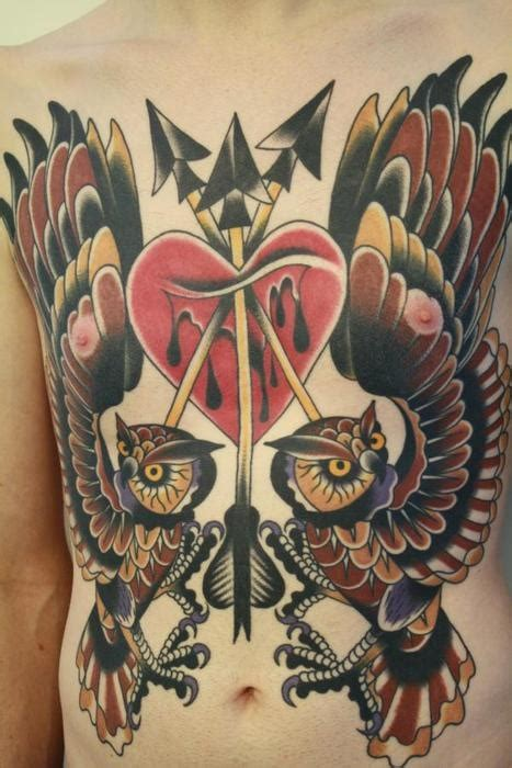 nipple heart tattoos owls species ideas