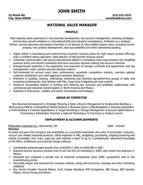 national sales manager resume template premium resume sles exle