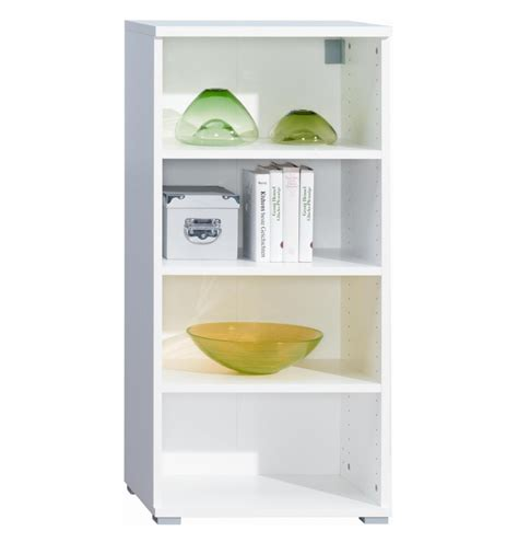four shelf bookcase wall mountable unit white