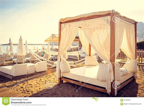 bed on the beach romantic relax on the beach beds stock photo image 61425877