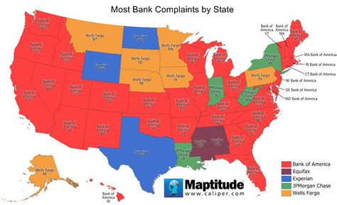 bank of america locations in usa map maptitude map most bank complaints by state