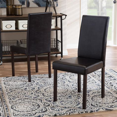 milan faux leather dark brown dining chairs set of 2 baxton studio andrew dark brown faux leather upholstered