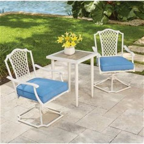 hampton bay alveranda  piece metal outdoor bistro set