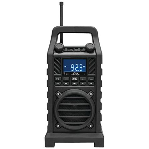 rugged portable radio pyle pwpbt250bk rugged and portable bluetooth speaker with fm radio usb sd readers and built in