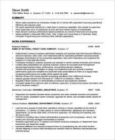 business resumes templates business analyst resume template 15 free sles