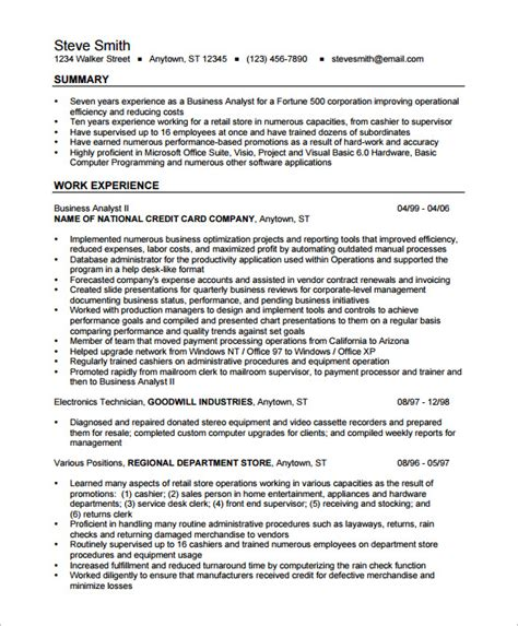 Business Resume Templates by Business Analyst Resume Template 15 Free Sles