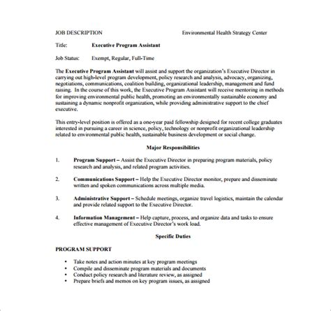 executive administrative assistant description template 10 executive assistant description templates free