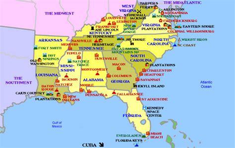 map usa south southern usa