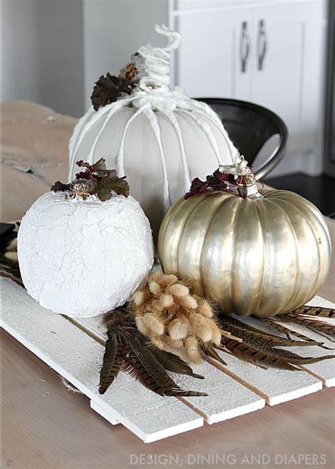 gold pumpkin centerpieces neutral fall centerpiece with diy pumpkins whiteaker