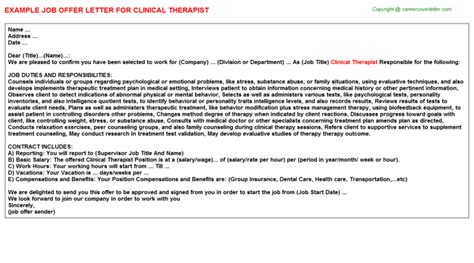 Clinical Therapist Cover Letter by Clinical Pathologist Offer Letters