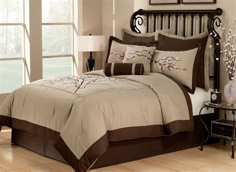 brown bedding sets zen 8pc queen comforter set cherry blossom asian khaki brown bedding ebay