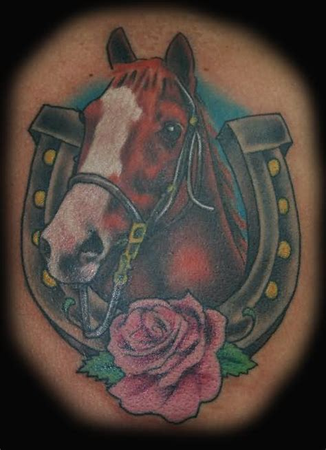 horseshoe and rose tattoo horseshoe images designs
