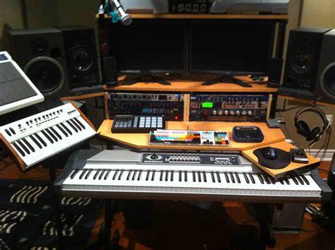 My Custom Built Production Desk With A Sliding 88 Key Home Studio Production Desk